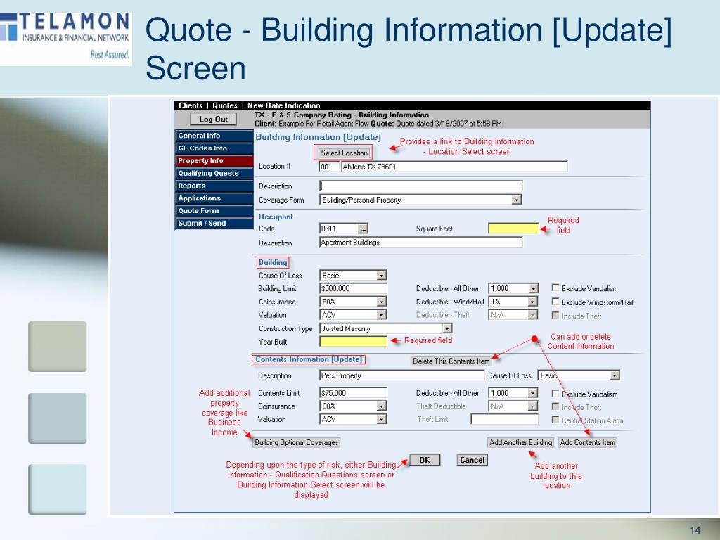 Quote - Building Information [Update] Screen