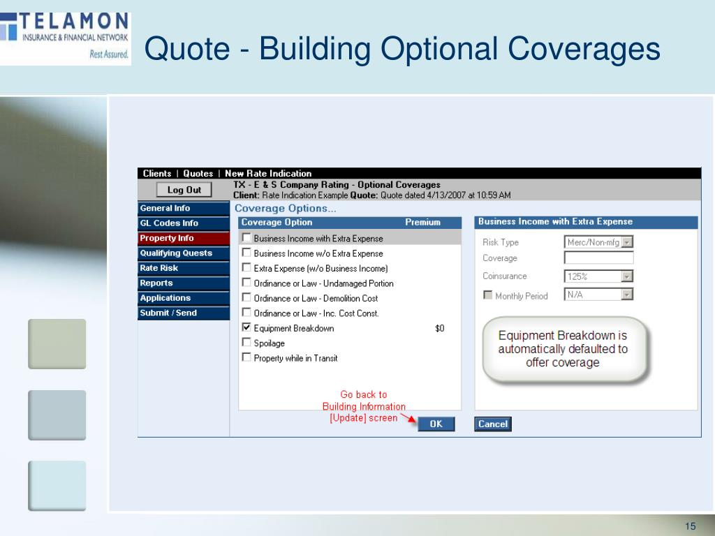 Quote - Building Optional Coverages