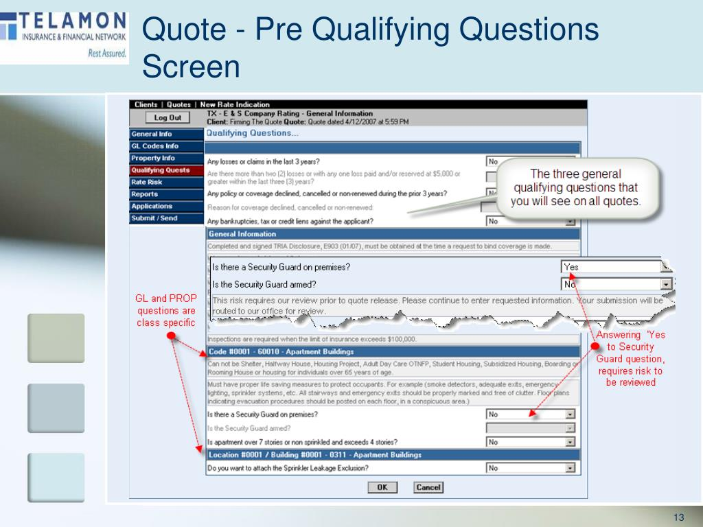 Quote - Pre Qualifying Questions Screen