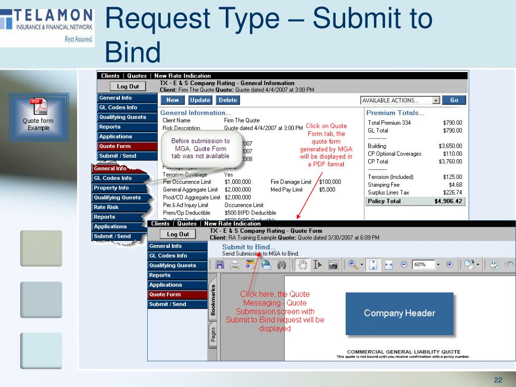 Request Type – Submit to Bind