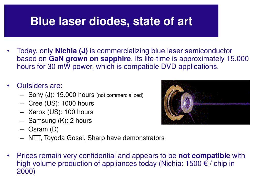 Blue laser diodes, state of art