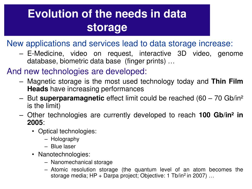 Evolution of the needs in data storage
