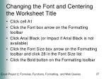 changing the font and centering the worksheet title