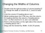 changing the widths of columns51