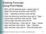 entering formulas using point mode