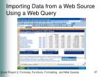 importing data from a web source using a web query67
