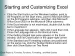 starting and customizing excel