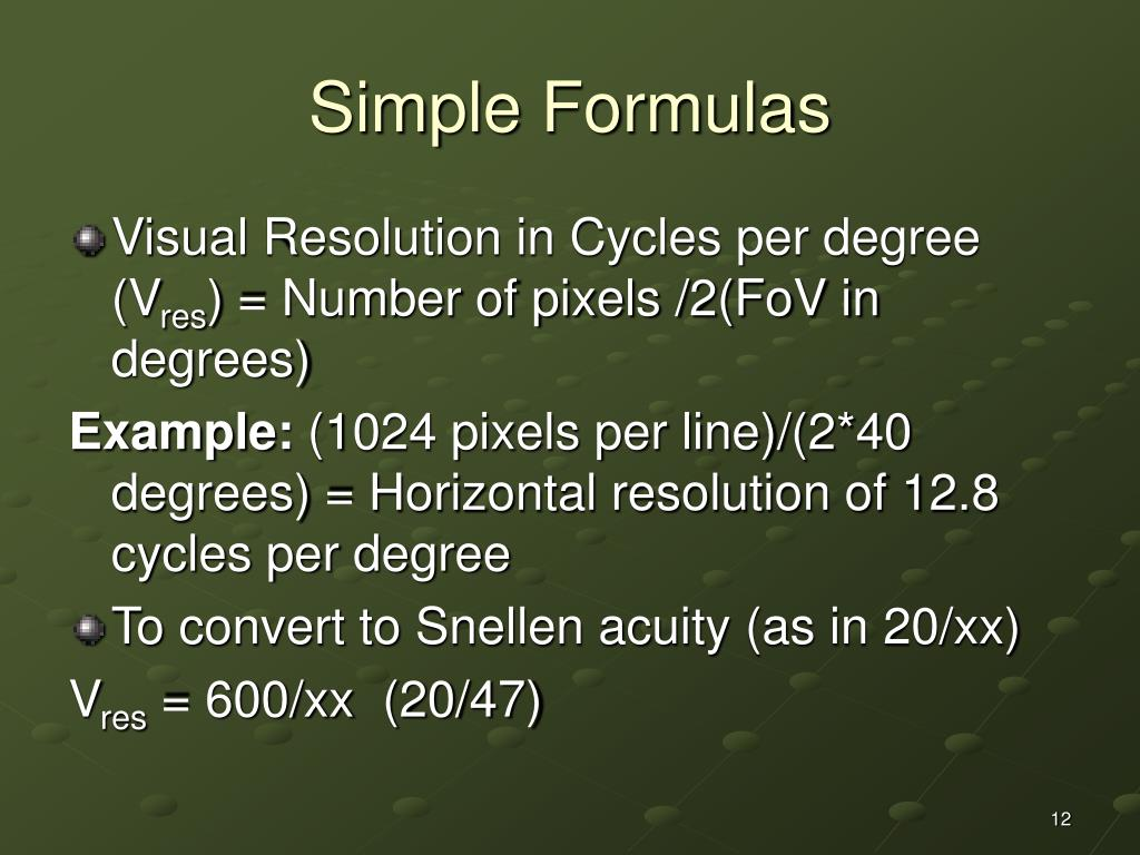 Simple Formulas