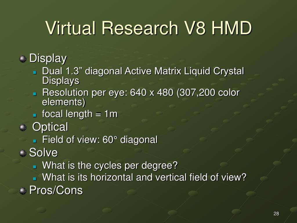 Virtual Research V8 HMD