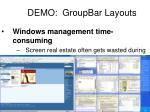 demo groupbar layouts