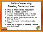 faq s concerning reading centers p 8 11