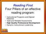 reading first four pillars of an effective reading program