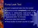 pump leak test