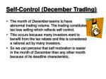 self control december trading