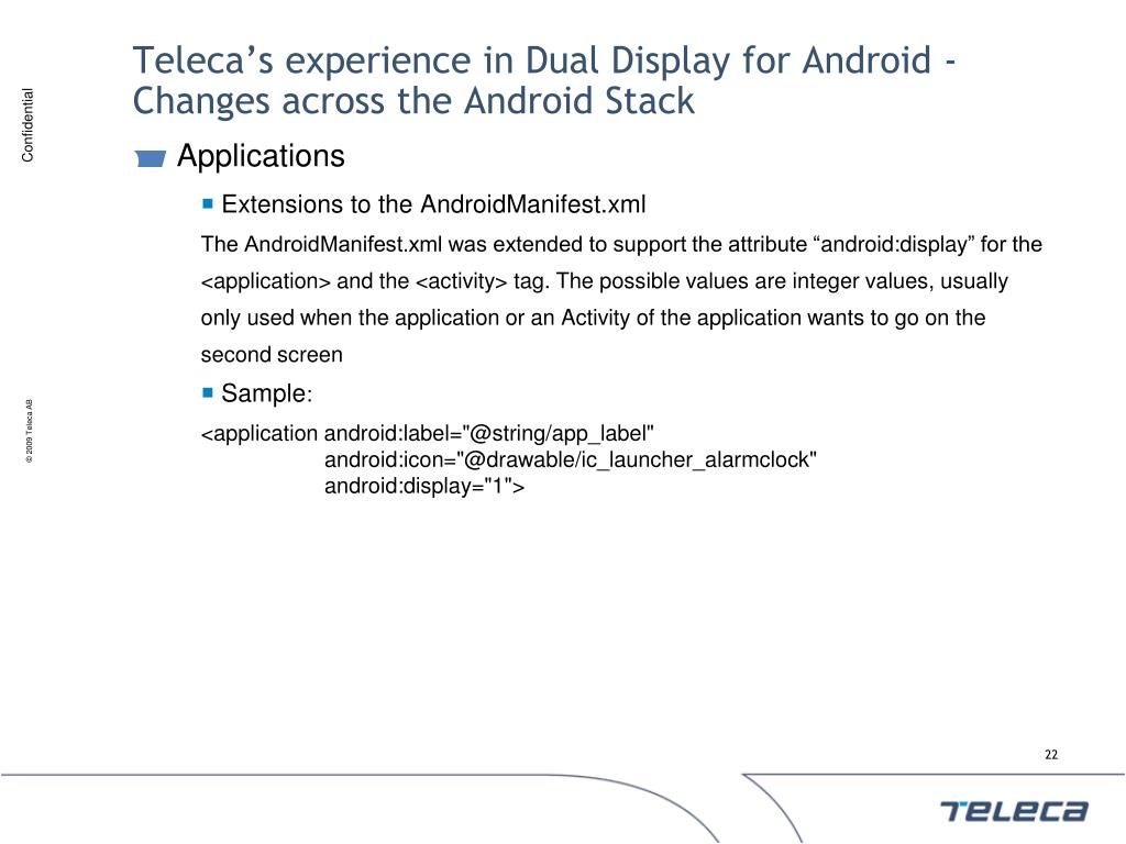 Teleca's experience in Dual Display for Android - Changes across the Android Stack