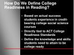 how do we define college readiness in reading