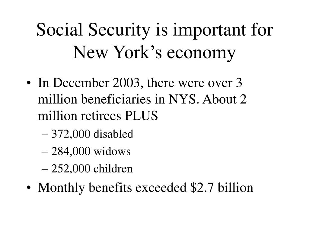 Social Security is important for New York's economy