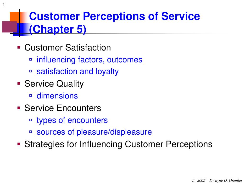 PPT - Customer Perceptions of Service (Chapter 5) PowerPoint
