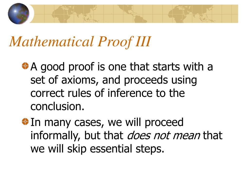 Mathematical Proof III