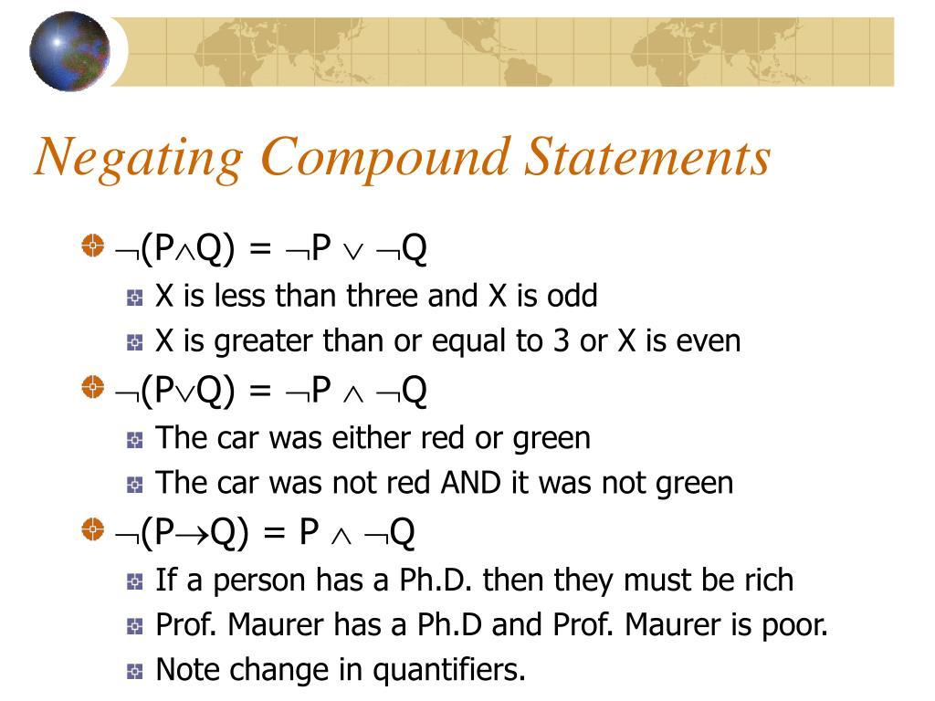 Negating Compound Statements