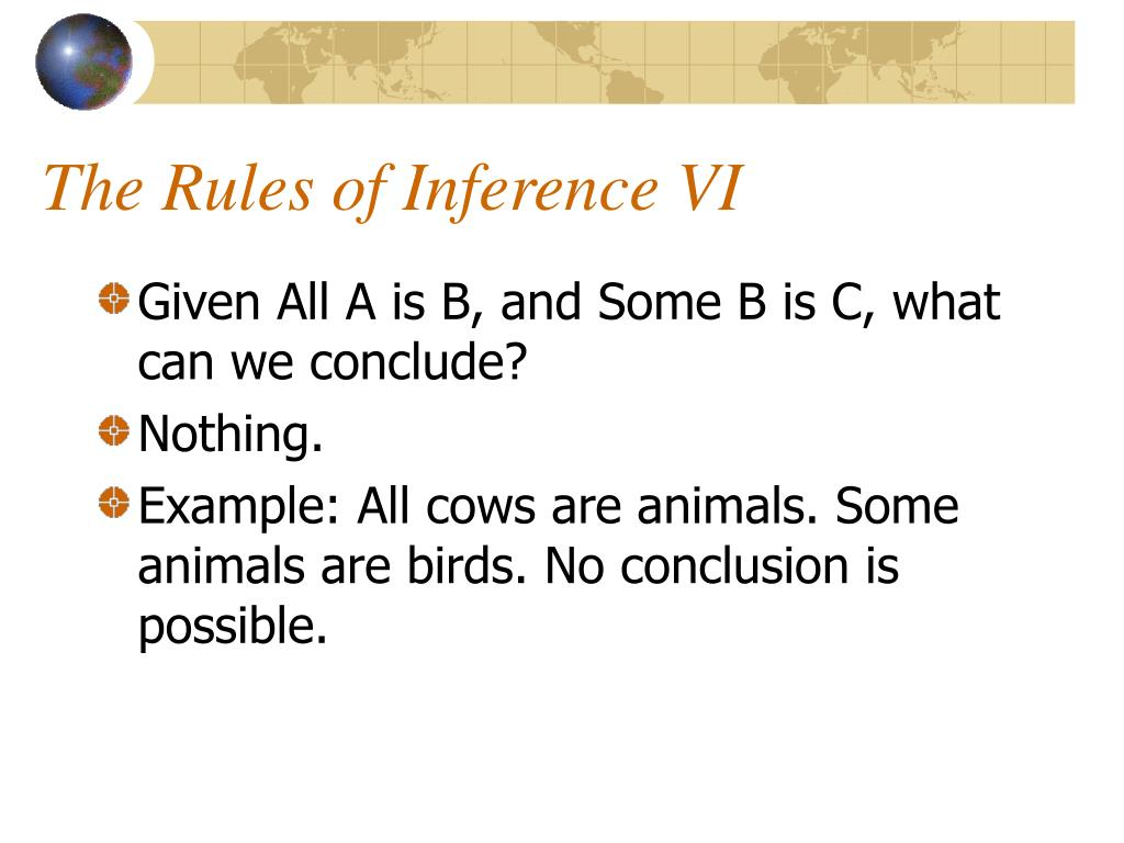 The Rules of Inference VI