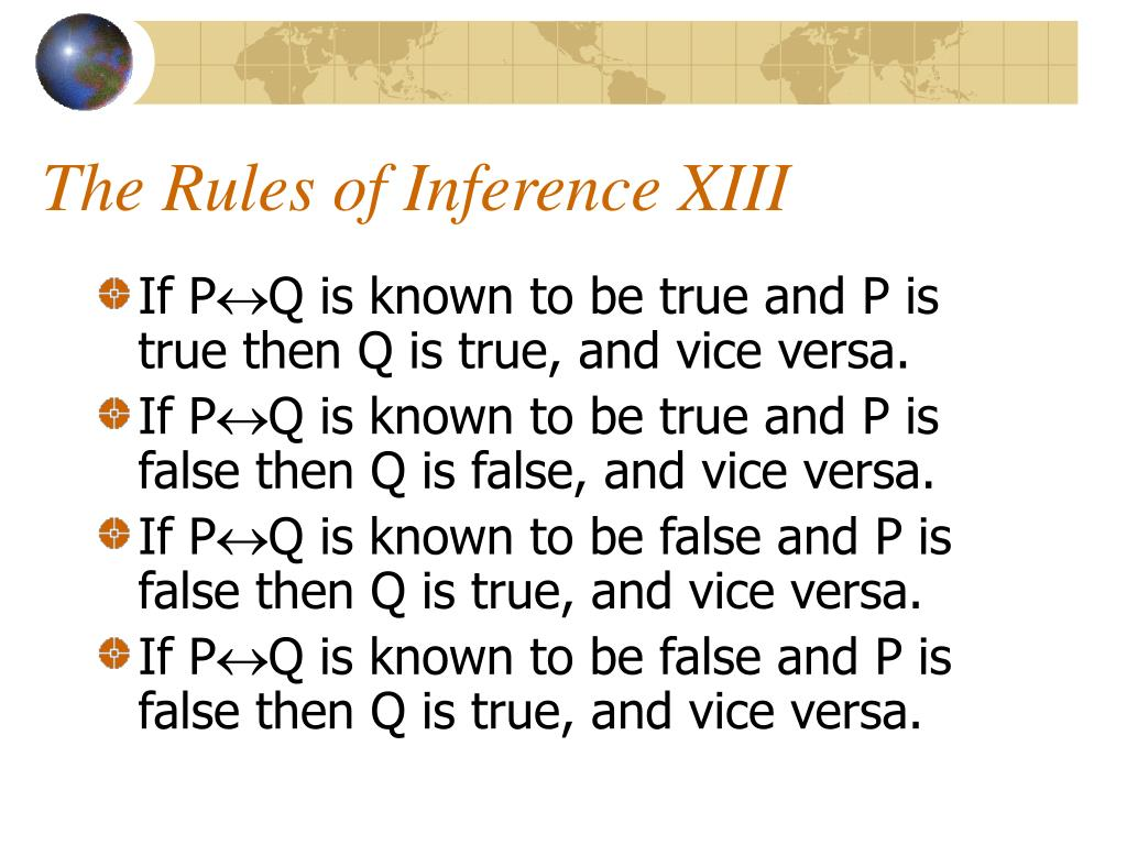 The Rules of Inference XIII