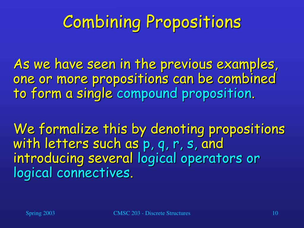 Combining Propositions