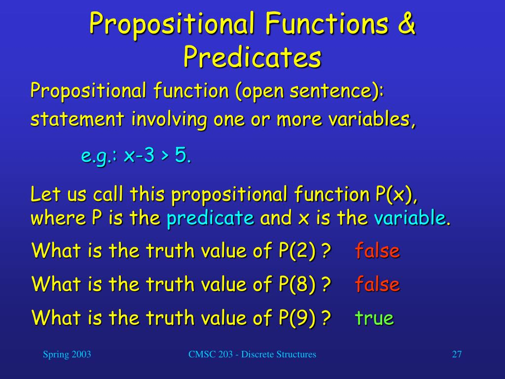 Propositional Functions & Predicates