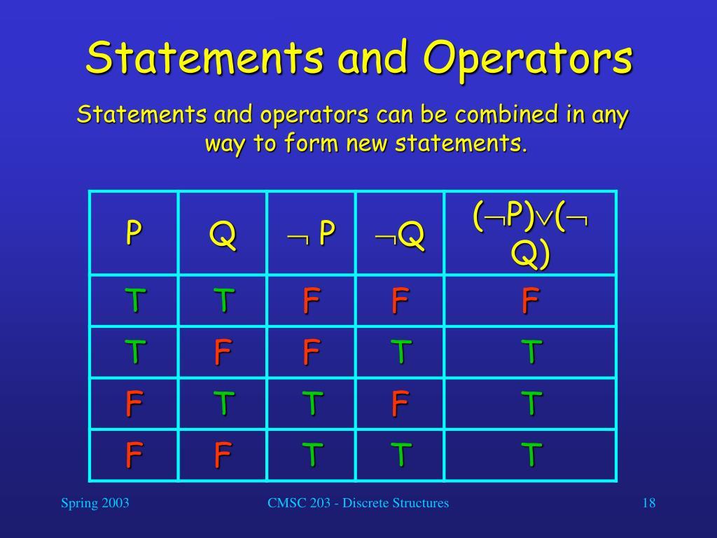 Statements and Operators