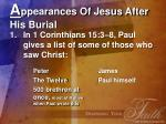 a ppearances of jesus after his burial