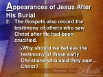 a ppearances of jesus after his burial21