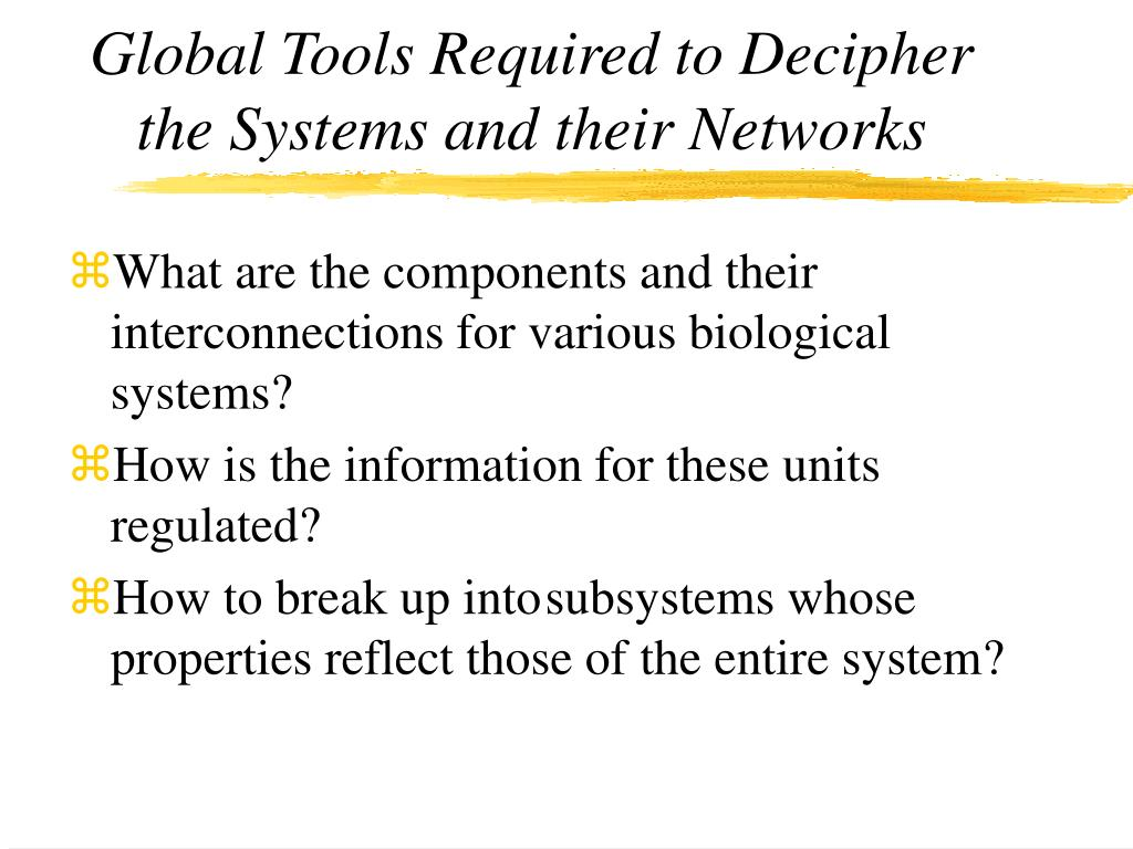 Global Tools Required to Decipher the Systems and their Networks