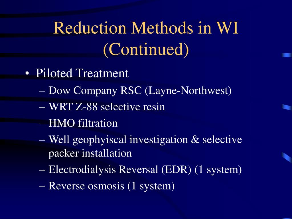 Reduction Methods in WI (Continued)