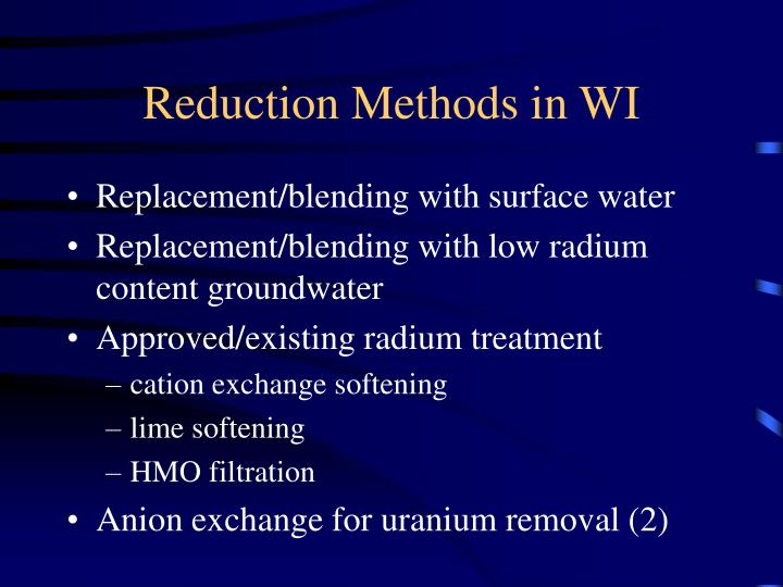 Reduction methods in wi