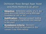 dichloran rose bengal agar yeast and mold method evaluation