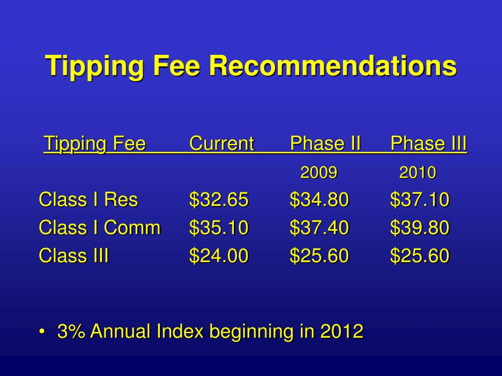 Tipping Fee Recommendations