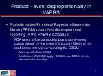 product event disproportionality in vaers
