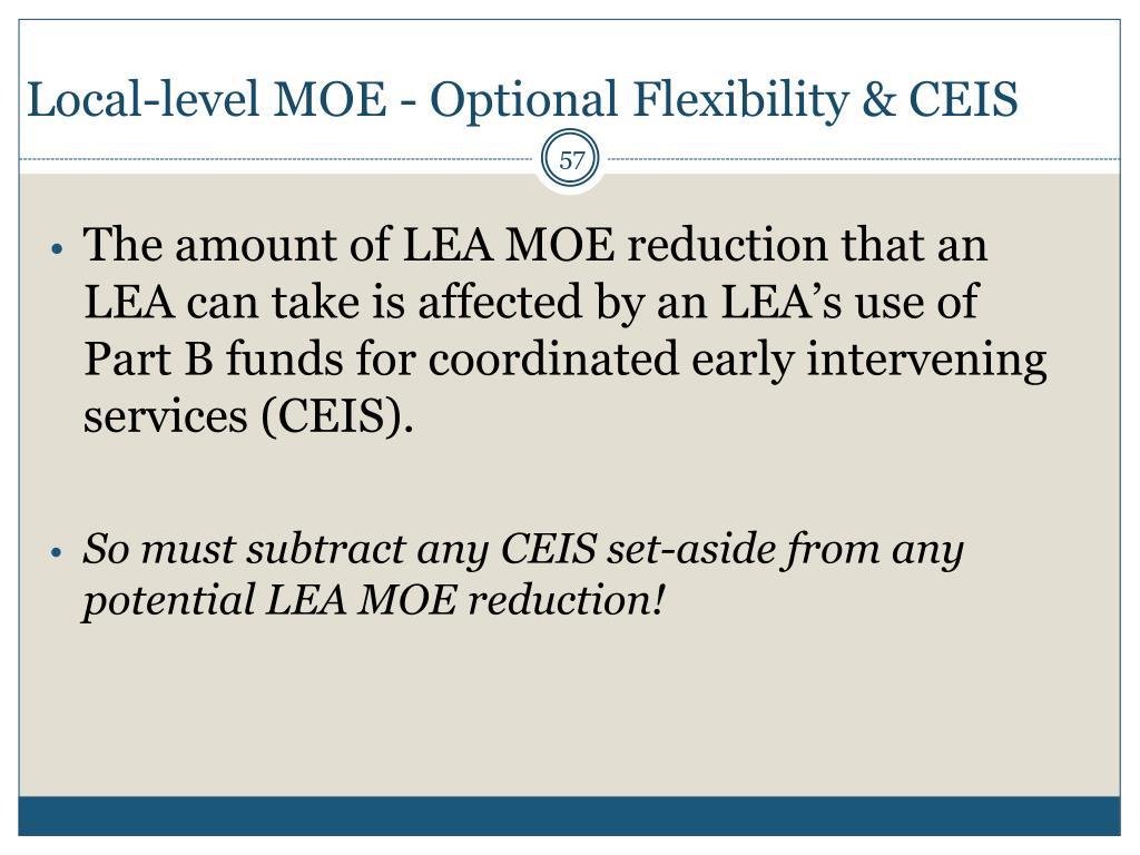 Local-level MOE - Optional Flexibility &