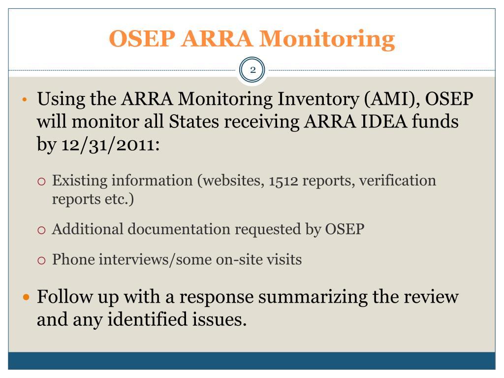 OSEP ARRA Monitoring
