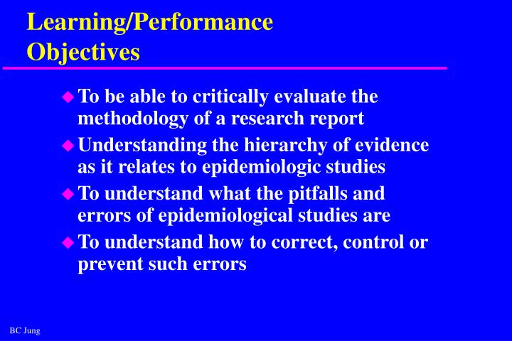 Learning performance objectives