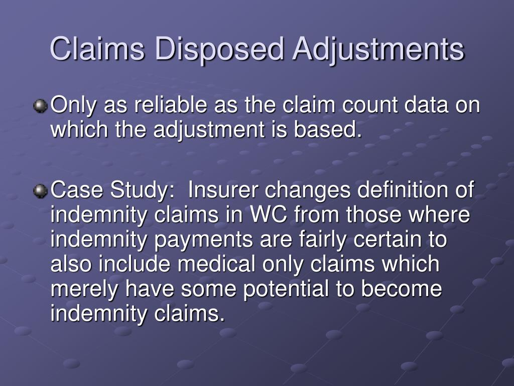 Claims Disposed Adjustments