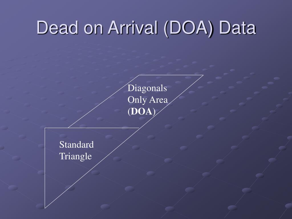 Dead on Arrival (DOA) Data