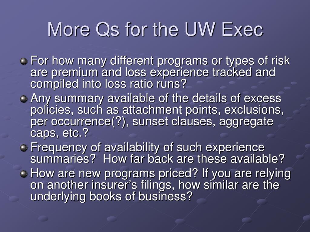 More Qs for the UW Exec