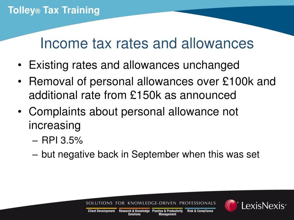 Income tax rates and allowances