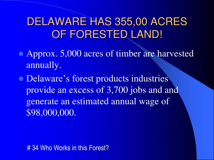 Delaware has 355 00 acres of forested land