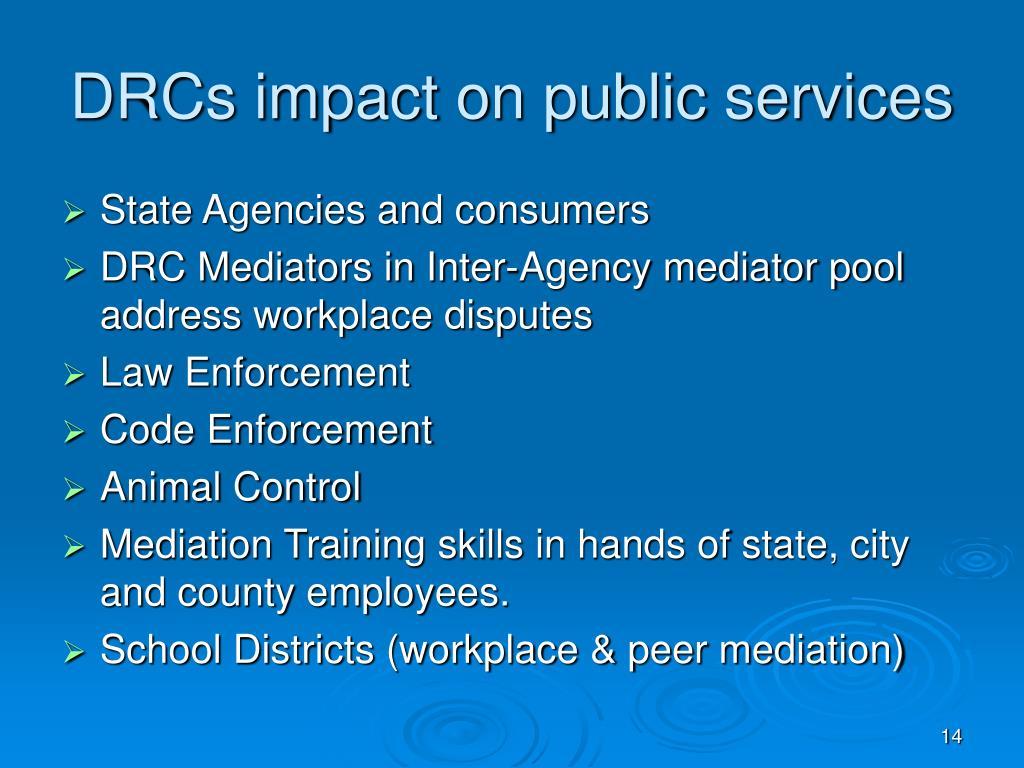 DRCs impact on public services