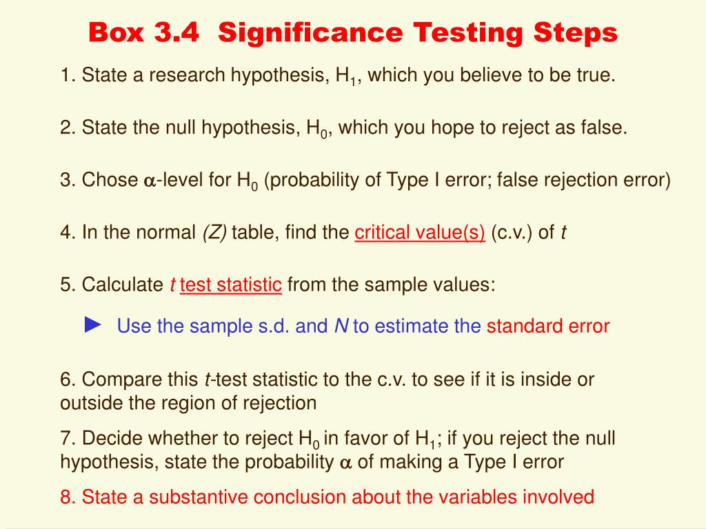 Box 3.4  Significance Testing Steps