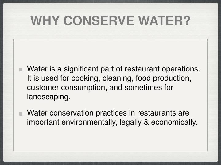 Why conserve water