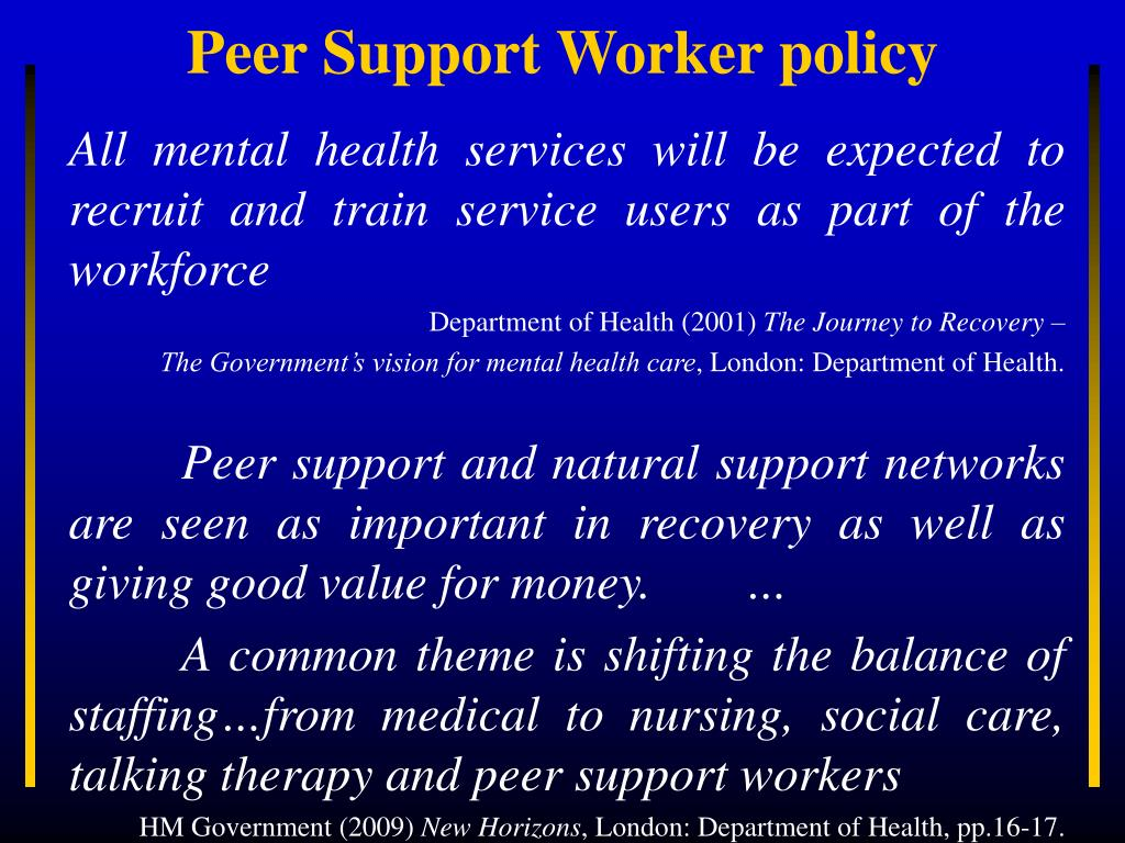 All mental health services will be expected to recruit and train service users as part of the workforce