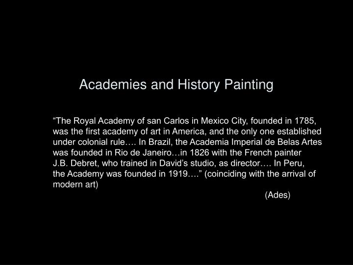 Academies and History Painting